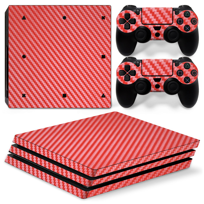 Red carbon fiber material vinyl decal cover skin sticker for PS4 Pro Console