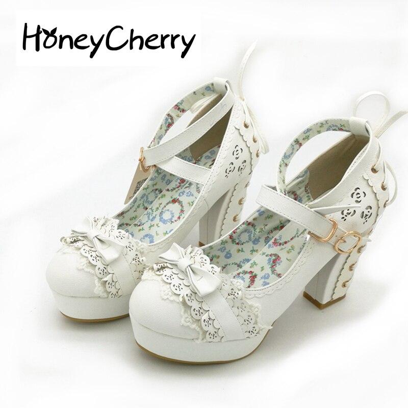 Dulce Tacones altos Lolita Zapatos, princesa japonesa Encaje, pajarita, de las mujeres solteras talón, tabla impermeable mujeres Zapatos