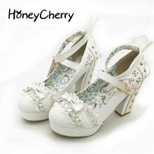 Sweet High Heels Lolita Shoes, Japanese Princess Lace, Bow Tie, Single Women's Heel, Waterproof Table Women Shoes