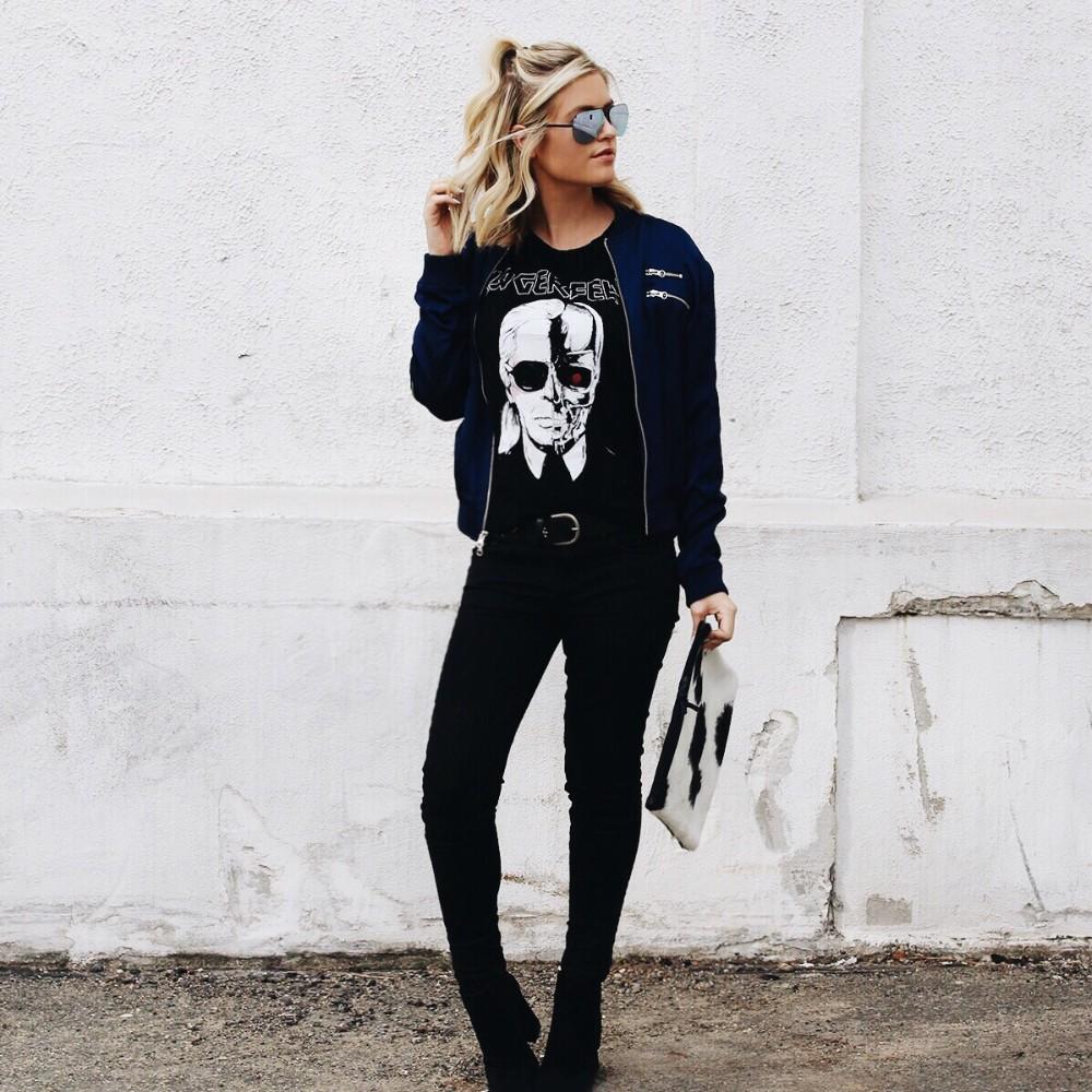 HTB1kHAWMXXXXXbnXFXXxh4dFXXXF - New Skeleton Head Printed Tee In Black Zombie Skull Punk Rock