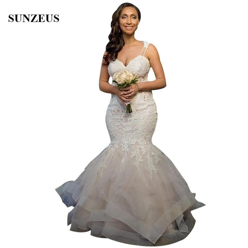 Trumpet Wedding Dresses 2019: Mermaid Appliques Lace Bridal Dresses 2019 Trumpet