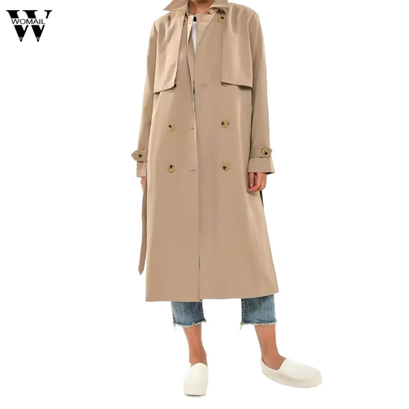 WOMAIL Women 2018 Autumn Winter Button Trench Sashes Womens Solid Long Business Causal Office Lady Tops Coats Outwear