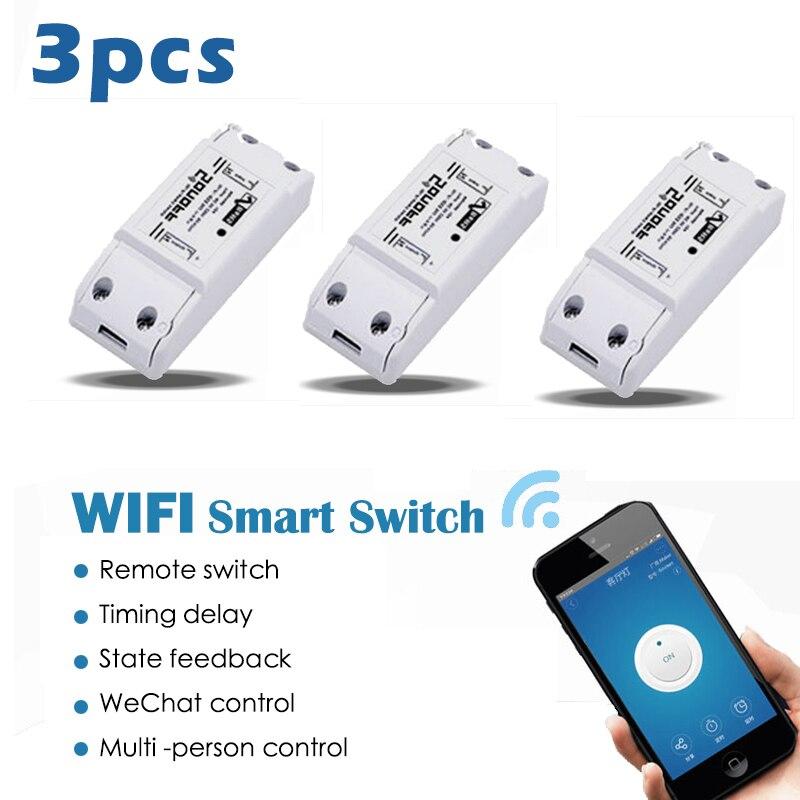 imágenes para 3 unids Sonoff Wifi Inalámbrico Interruptor Universal Módulo Domótico Inteligente Temporizador Diy Interruptor Wifi Mando a distancia A Través de IOS Android