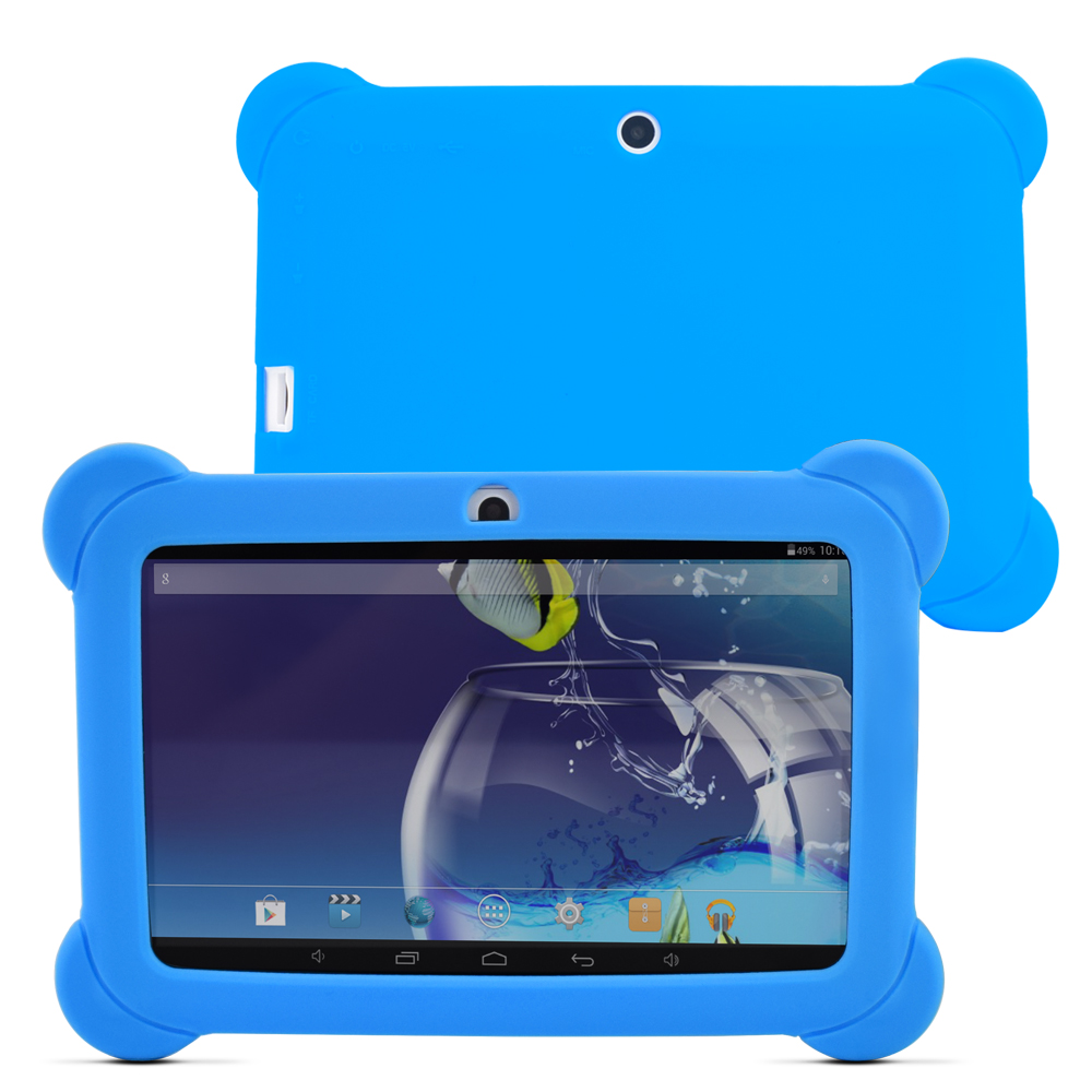New arrival 7 inch Tablet PC 8GB Q88 Android 4.4 Dual core and Dual Camera1024 x 600 Touch Screen with Silicone Case (blue)