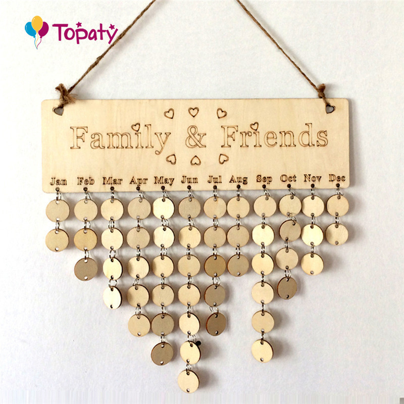 DIY Wooden Birthday Calendar Board Family Friends Birthday Calendar Sign Special Dates Planner Decor Gift Creative Wall Hangings