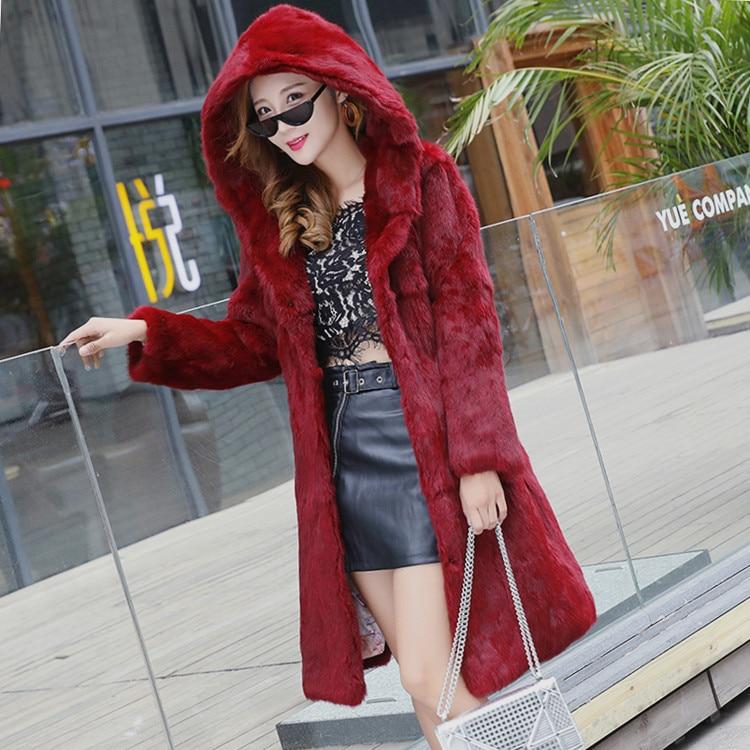 New real natural genuine rabbit fur coat with hood women fashion long sleeve jacket custom any size