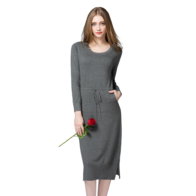 American Style Women Winter Autumn Fashion Loose O-Neck Long Sleeve Split Knitted Sweater Dress Female Oversize Pullover Dress new 2017 hats for women mix color cotton unisex men winter women fashion hip hop knitted warm hat female beanies cap6a03