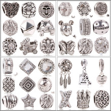 Wholesale 1pc Antique Silver Love Family Mickey Crown Big Hole Bead Charm Fits European Pandora Bracelets Jewelry For Gift