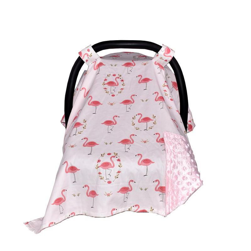 Flamingo Floral Breastfeeding Cover Baby Carseat Canopy Car Covers Infant Safety Seats Sunscreen Cradle Canopy Nursing Cover
