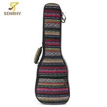 23 inch Soft Durable Cotton Nylon Country Style Colorful Strip Tenor Padded Ukulele Bag Case 65x23x5cm Guitar Parts Accessories