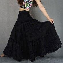 Летние повседневные цыганские Бохо полные круги Хлопок танцевальные черные женские плиссированные длинные макси юбки с женскими