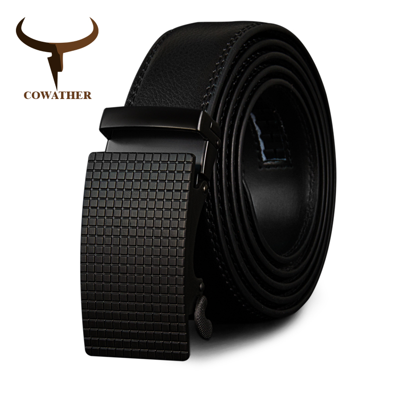 COWATHER Cow Genuine Leather Belts High Quality for Men Automatic Vintage Male Belt Brand Ratchet Buckle Belts 110-130cm long