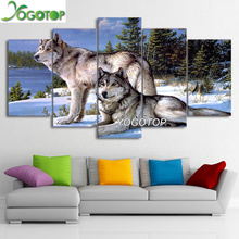 YOGOTOP DIY Diamond Painting Cross Stitch Kits Full Diamond Embroidery 5D Diamond Mosaic Home Decor two Wolf 5pcs ML224 yogotop diy diamond painting cross stitch kits full diamond embroidery 5d diamond mosaic decor colorful butterfly 5pcs ml307