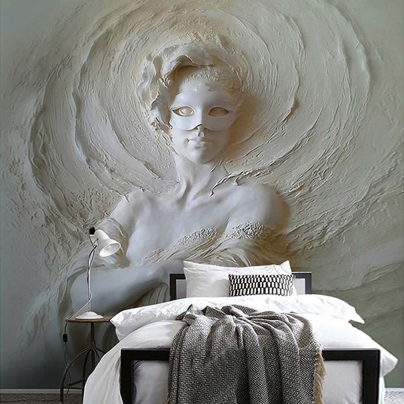 Custom Any Size Photo Wall Paper Modern 3D Stereoscopic Art Relief Mask Beauty Background Wall Mural Wallpaper For Walls Roll 3D shinehome sunflower bloom retro wallpaper for 3d rooms walls wallpapers for 3 d living room home wall paper murals mural roll