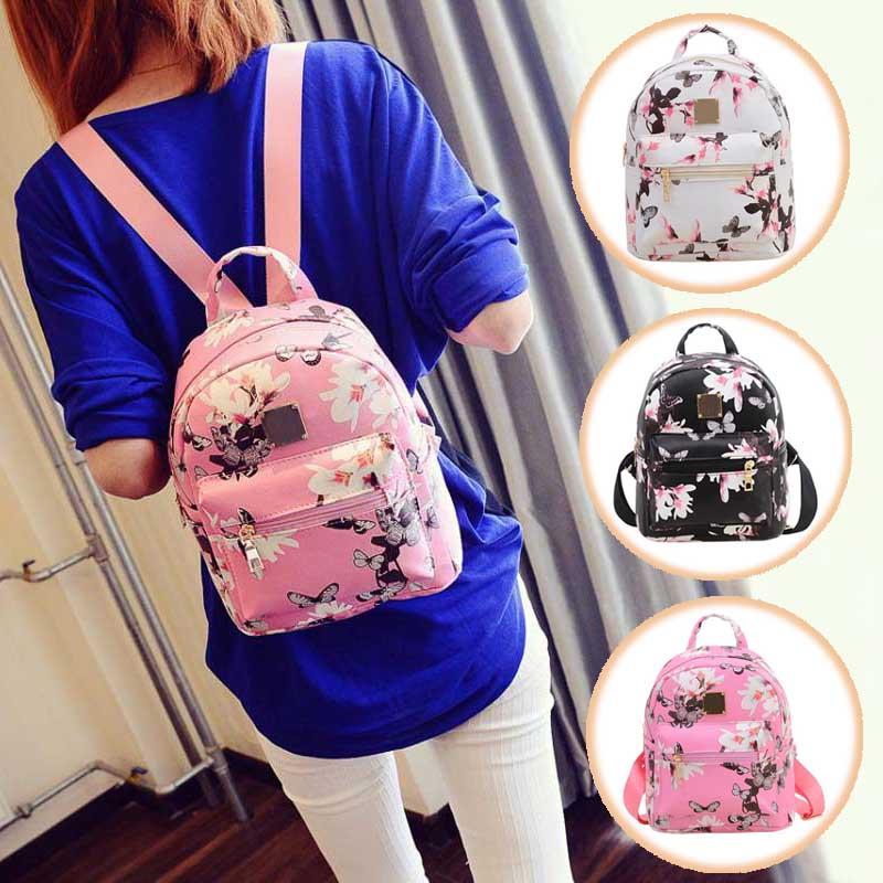 Новый Для женщин бабочка цветок маленький рюкзак с принтом из искусственной кожи Модные женские Симпатичные Путешествия Рюкзаки lby2017