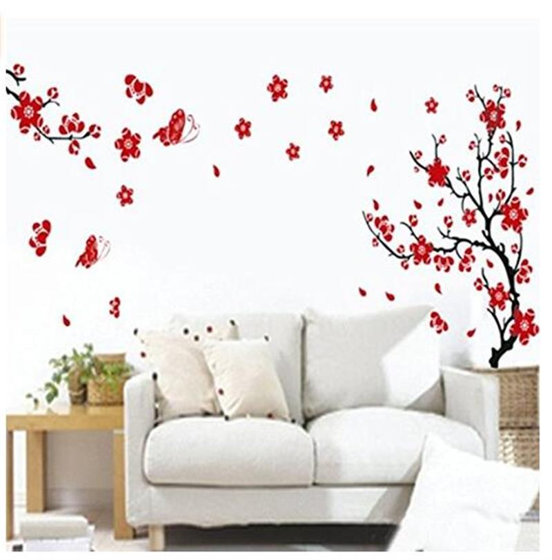 Plum Flower Decoration On The Wall The Sitting Room The Bedroom Wall Stick Tv Setting Wa ...