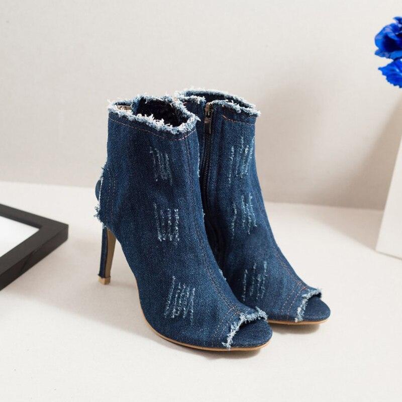 Zipper Cheville Nu D'été Dames Femmes Talons Peep Bottes Toe Light Mode 10cm dark Cm Dos Chaussures 10 Denim Casual Heel Heel Mince Haute Blue TFcJlK1