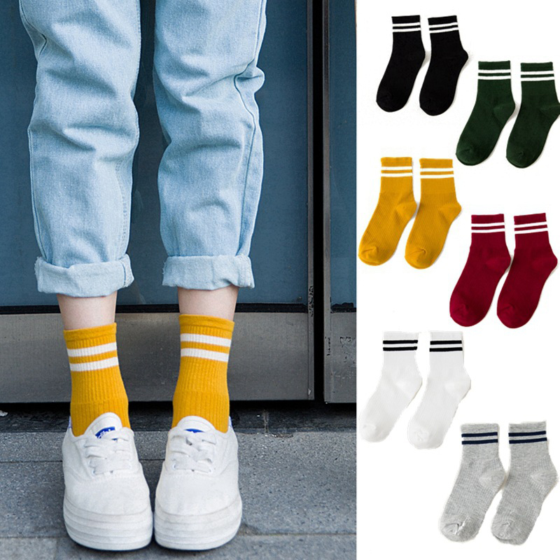 1/2pair Women Girls Casual Striped Candy Colors Cotton Comfortable Harajuku Short Socks Fashion Female Funny Socks 2 Styles Meia