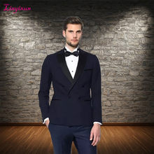 Linyixun ternos masculino slim fit men suit wedding suits for men ,Double Breasted Black suit mens 2017 trajes de hombre(China)