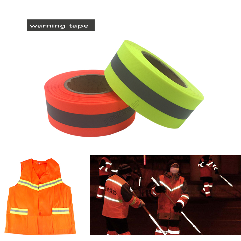 50mm width Fluorescent yellow&Fluorescent orange Warning Tape for Safety Clothes sewing on 50mm width Fluorescent yellow&Fluorescent orange Warning Tape for Safety Clothes sewing on