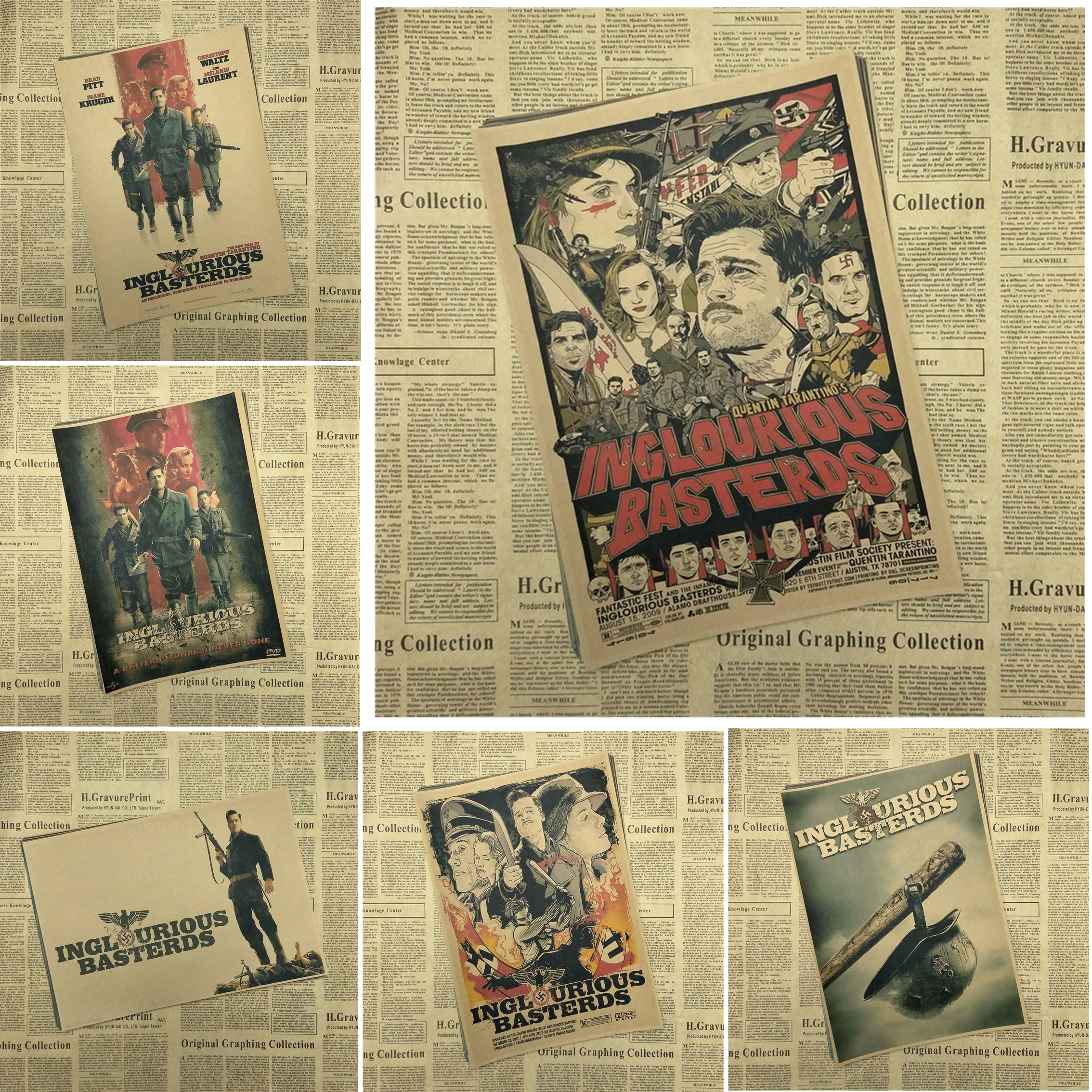 Inglourious Basterds Classic Movie Kraft Paper Poster Bar Cafe Living Room Dining room Quentin Tarantino Poster Videos image