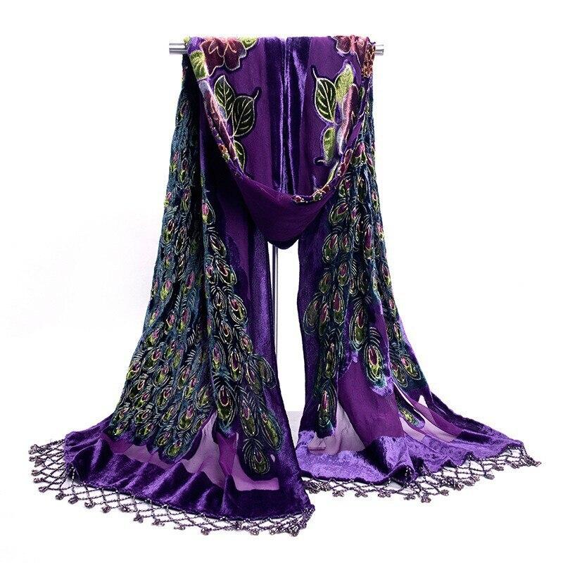 Горячая Распродажа черный женский бархатный шелковый вышитый бисером шаль шарф обертывание шарфы Peafowl WS006-H - Цвет: Фиолетовый