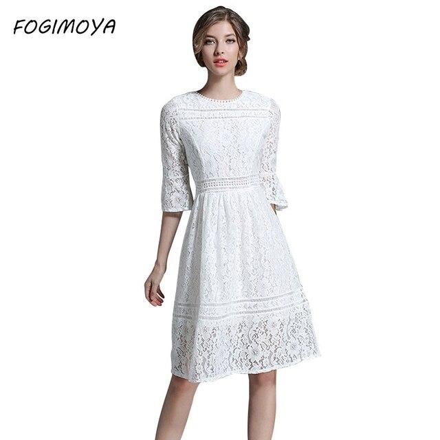 Fogimoya платье женские летние кружева крючком цветы выдалбливают О шеи платья женские Мода 2017 линия Bodycon Тонкий Брендовое платье
