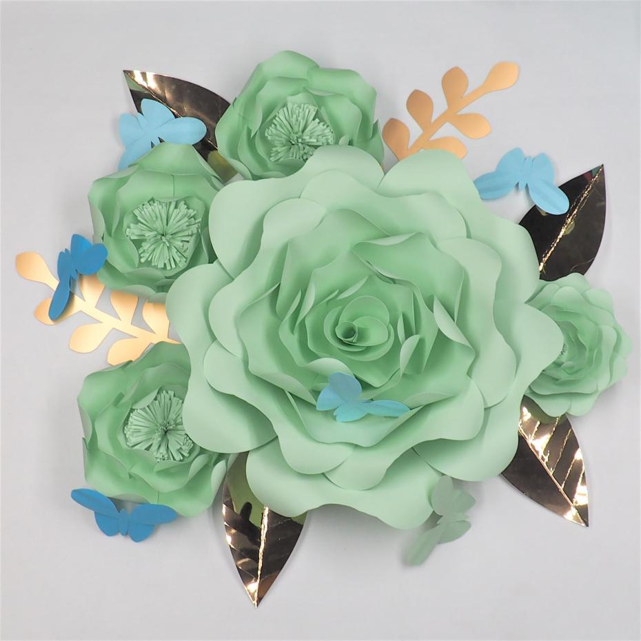 DIY Giant Paper Flowers Backdrop Full Kits Half Made Large Flowers Set With Leaves Butterflies Baby Nursery Wedding Deco