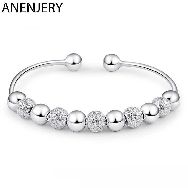 Hot Koop Vrouwen Zilveren Kleur Kralen Geluk Armbanden Open Manchet Armbanden & Bangles Sieraden Pulseras Van S-B15