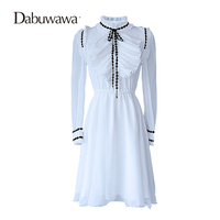 Dabuwawa White Autumn Long Sleeve Elegant Chiffon Dress Ruffled Shirt Dress