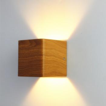 2pcs / lot Wood Grain Led Wall Lamp AC90 ~ 260V 5W Aluminum Up and Down Bedroom Lighting Living Room lights Bedside lamp