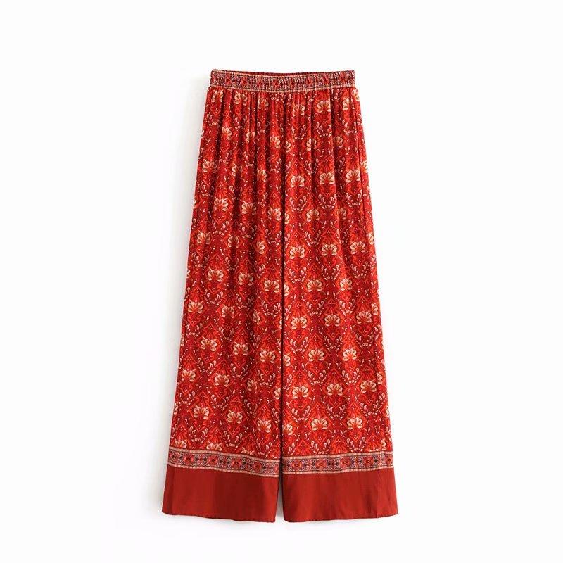 GYPSY Bobo Chic Summer Vintage Floral Print   Wide     Leg     Pants   Women Fashion Elastic Waist Streetwear Trousers Casual Pantalon Femme