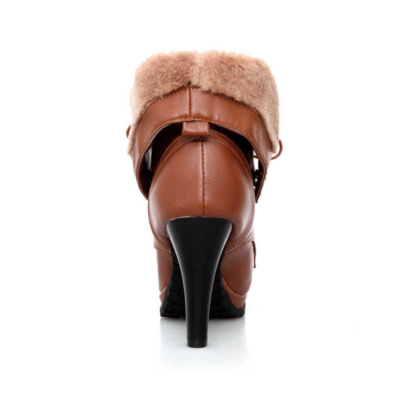 BONJOMARISA 34-43 Super WARM Plush รองเท้าสุภาพสตรีรองเท้าส้นสูงหิมะรองเท้าผู้หญิง 2020 ฤดูหนาว Cool LACE-Up แพลตฟอร์มรองเท้าผู้หญิง
