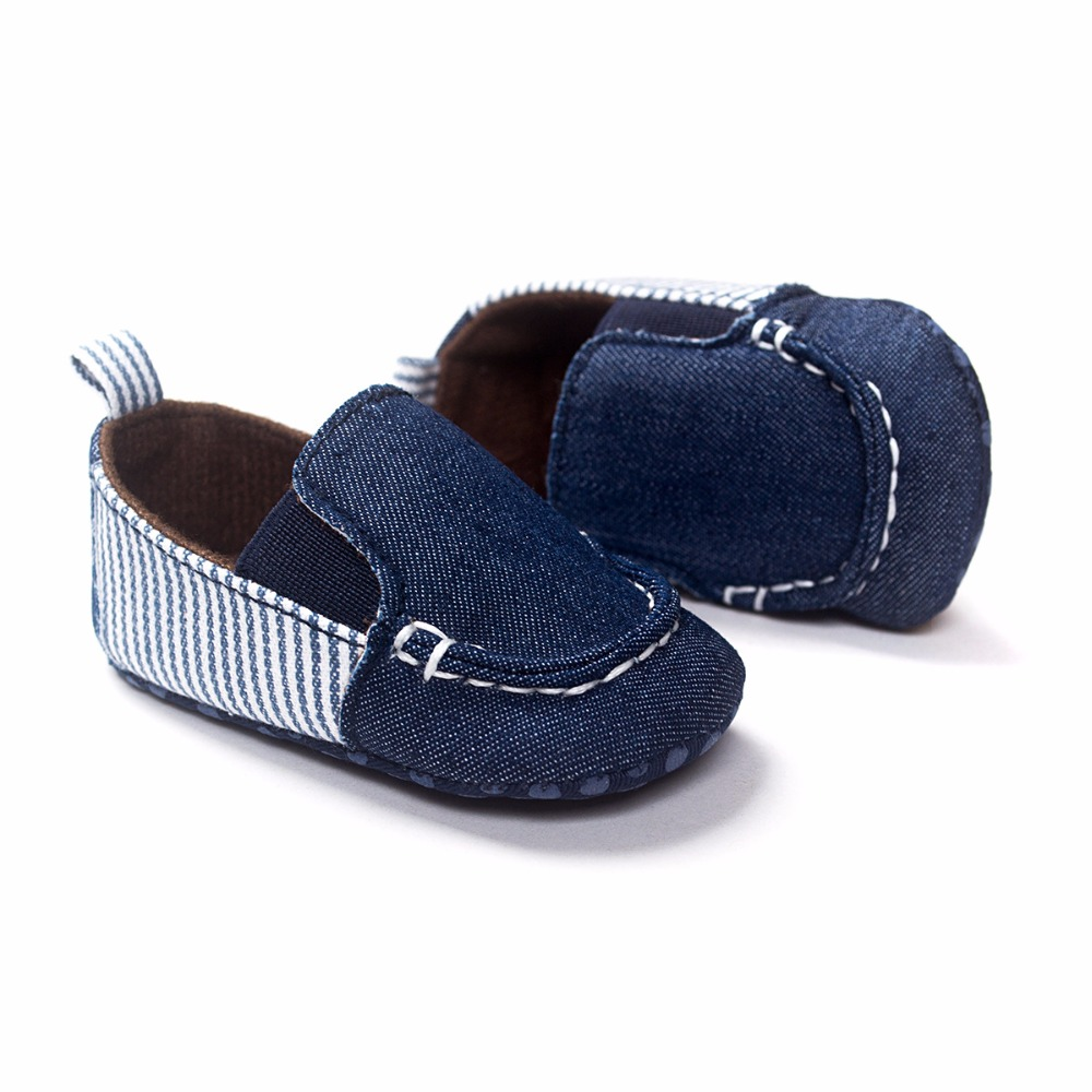 Classic Style Dark Blue Canvas Baby boy Spring/Autumn Shoes Comfortable Soft Cotton Sole Slip- On First Walkers HOT SELL