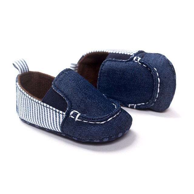 ff962e87488 Classic Style Dark Blue Canvas Baby boy Spring Autumn Shoes Comfortable Soft  Cotton Sole Slip- On First Walkers HOT SELL