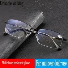 04f5dd42d Progressiva multi-focal da lente óculos de leitura armação de óculos de  metal de transição masculino feminino espetáculos de lon.
