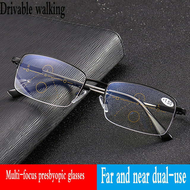 Progressive multi-focal reading glasses transitional female male metal spectacle frame far and near dual-purpose spectacles