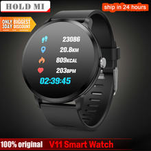 Smart watch V11 IP67 waterproof Tempered glass Activity Fitness tracker Heart rate monitor BRIM Men women smartwatch(China)