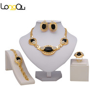 2016 High Quality Italy 24K Gold Plated Jewelry Sets Fashion Rose Platinum African Necklace Earrings Party
