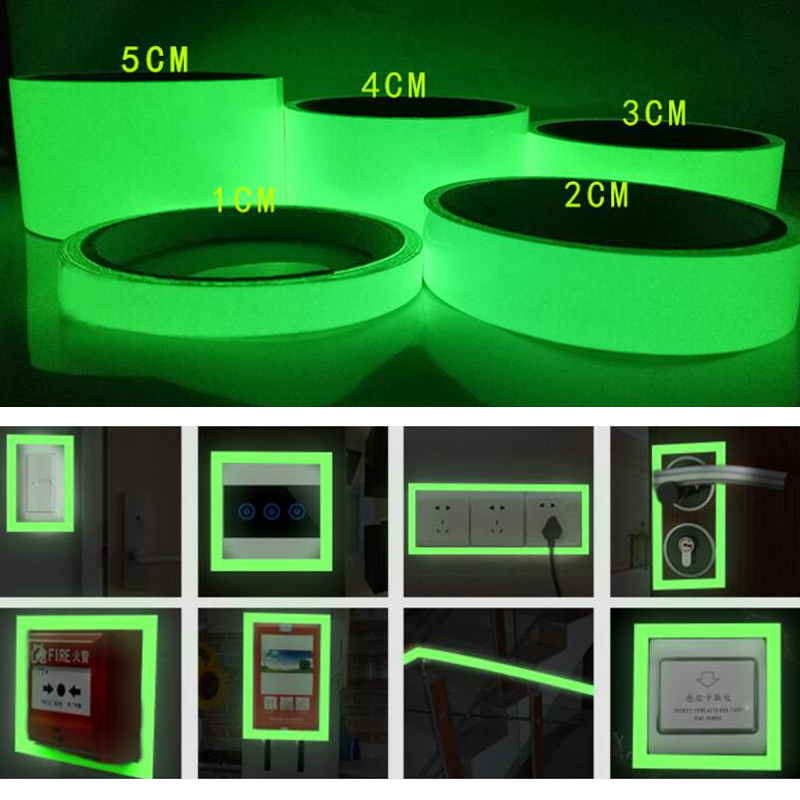 Luminous Tape Self-adhesive Photoluminescent Night Vision Glow In Dark Wall Sticker Safety Warning Security Stage Decoration