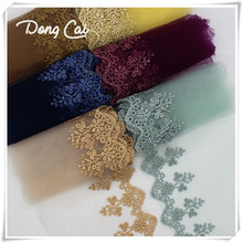 14yards/lot 10CM width Embroidered Mesh Lace Fabric Trims for Wedding Party Dress DIY Sewing Doll Clothes Garment Accessories 10pcs lot mini zipper doll clothing zipper no 0 10cm diy handmade sewing scrapbooking garment applique diy clothes accessory