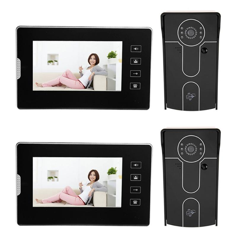 7 inch Wired Video Doorbell Touch Screen LCD Display Camera Infrared Night Vision Door Bell EU/US Plug hd villa type wired video doorbell 7 inch color camera screen night vision doorbell with memory card