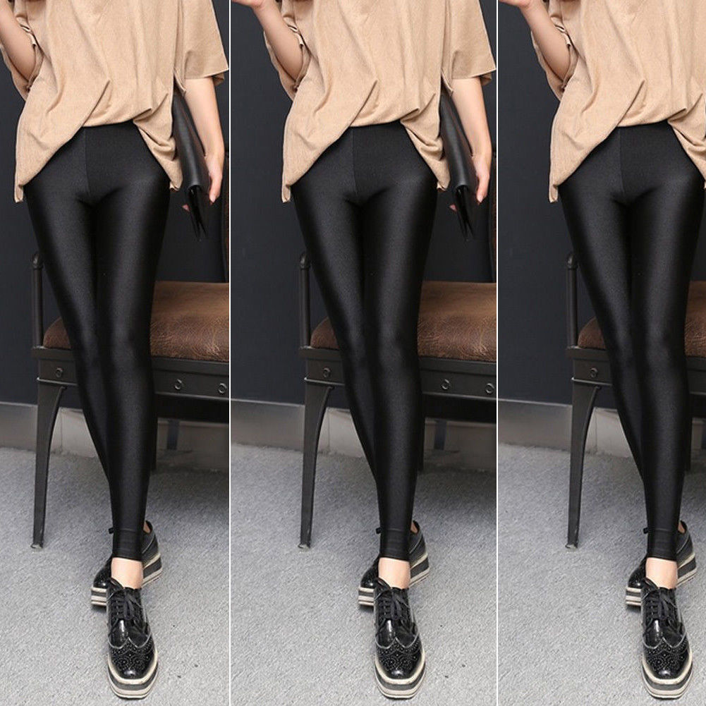 New Women's Shiny High Waist Stretchy Disco Dance Ladies  Black Thin Feet And Tight