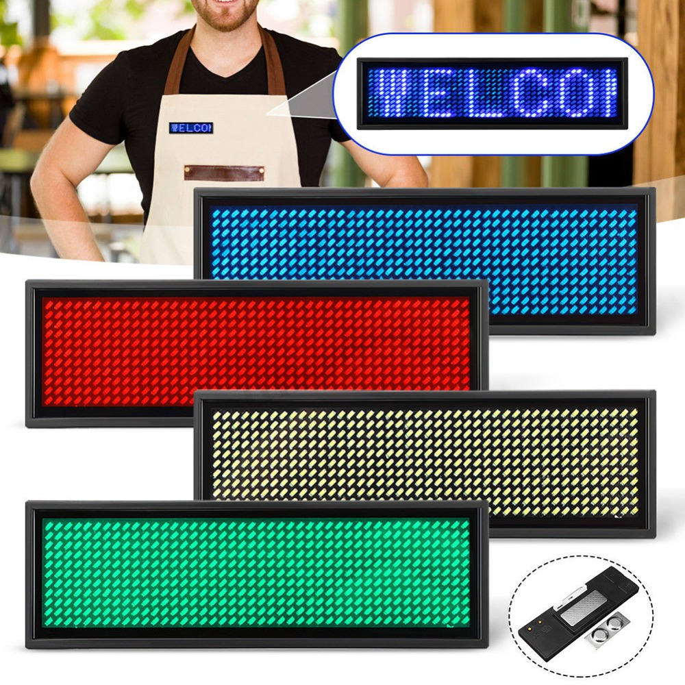 Rechargeable Led Name Tag Mini LED Digital Programmable Rechargeable Scrolling Message Tag Badge Sign For Festival Event#290021(China)