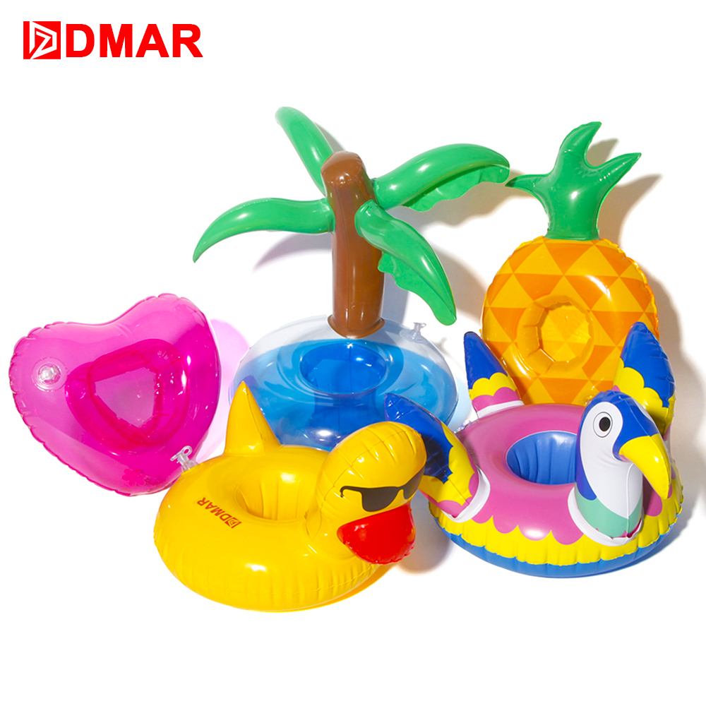 DMAR Mini Inflatable  Pool Pineapple duck Coconat Float Toys Drink Float Cup Holder Swimming Ring Party Toys  Flamingo Unicorn