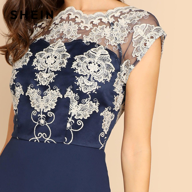 4bca4d63cf452 SHEIN Navy Embroidered Mesh Bodice Fit & Flare Dress Elegant Short Sleeve  Round Neck Party Dresses Women Spring A Line Dress-in Dresses from Women's  ...