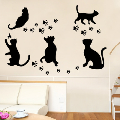 Diy Playing Cat Kids Room Home Decal Vinyl Wall Sticker Animal Wall Decor Butterfly Baby Children