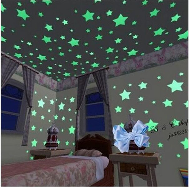 100pcs/lot home wall glow in the dark stars wall stickers decor baby