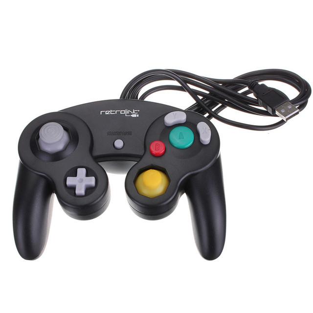 Caliente venta nueva conexión de cable USB game Controller Joypad Joystick Nintendo para NGC GC para MAC por computadora PC Pad negro