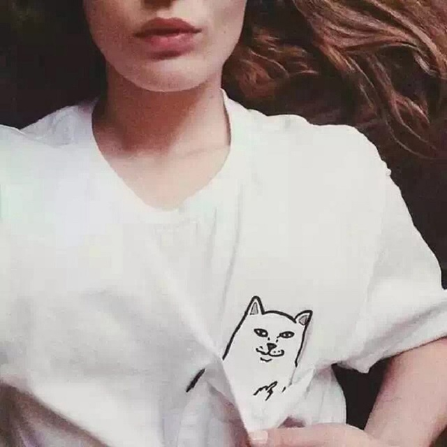 Cute Summer Casual Cotton Tshirt Printed Pocket Cat Top For Women